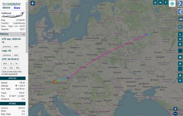 Самолет, которым предположительно пользуется Шувалов, улетел вАвстрию